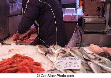 View of fish market in Chioggia, Italy