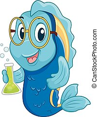 Fish Mascot Scientist Illustration