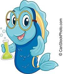 fish, mascot, videnskabsmand, illustration