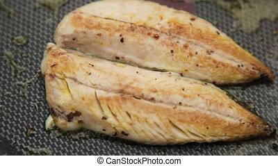 Fish meat in golden brown
