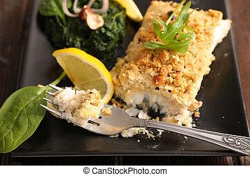 fish, med, hasselnöt, breaded