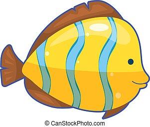 fish, megfosztot, ábra, vektor