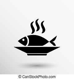 Fish menu icon logo seafood fork tuna vector.