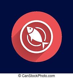 Fish menu icon logo seafood fork tuna vector