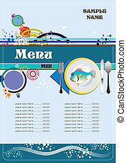 fish, menu, restaurant, (cafe)