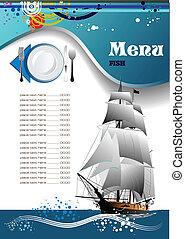 fish, menu, ristorante, (cafe)