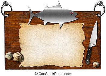 Fish Menu - Wooden Signboard