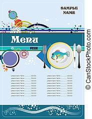 fish, meny, restaurang, (cafe)