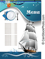fish, meny, restaurang, (cafe)