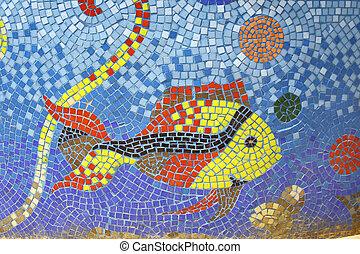 fish mosaic art on fountain pond in dahab, sinai, egypt