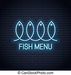 Fish neon sign. Linear fish menu neon banner on wall background