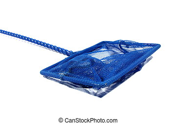 Fish Net - Isolated blue fish net used for aquariums at home...