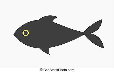 fish, noir, icône