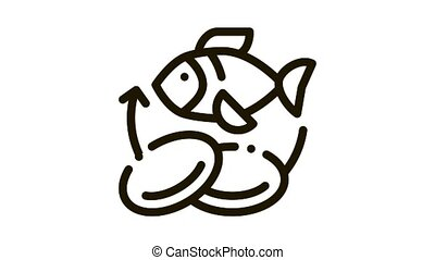 Fish Nutrients Supplements animated black icon on white background