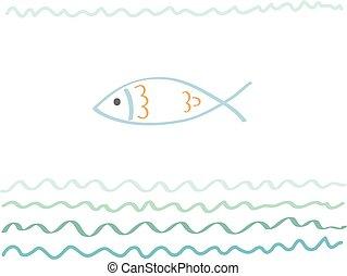 fish., o, tuo, cartolina, manifesto, astratto, -, vacanza, illustrazione, viaggiare, vettore, disegno, mare, disegnato, fondo, mano, turismo, viaggio, scheda, ozio
