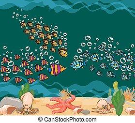 fish., océano, mundo, submarino