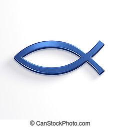 Fish of Christ Symbol. 3D Render Illustration - Fish of...