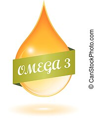 Fish oil and omega 3 icon on white background