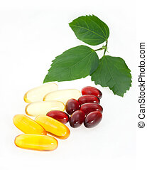 Fish Oil Capsules - Fish oil capsules with green leaves