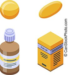 Fish oil icons set, isometric style