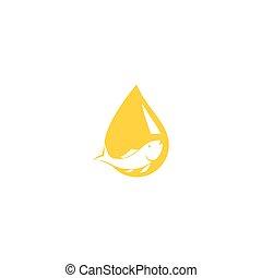 Fish oil logo vector illustration template
