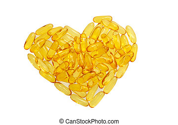 Fish oil pills in shape heart isolated on white background