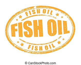 Fish oil sign or stamp - Fish oil grunge rubber stamp on...