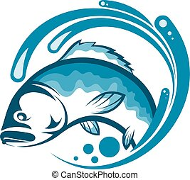 Fish on a blue wave of water