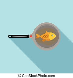 Fish on a pan icon, flat style