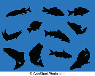 Fish on blue background - vector