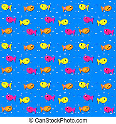 Fish on Bright Blue - Tiny white dots or bubbles sit besides...