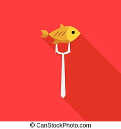 Fish on fork icon, flat style