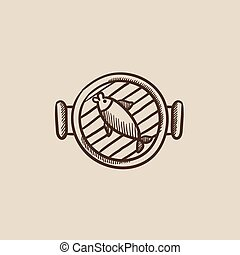Fish on grill sketch icon.
