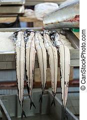 Fish on market, black scabbard (espada) in fish market