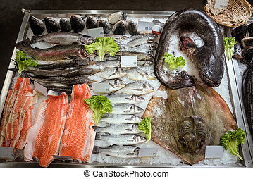 fish on the counter in the supermarket