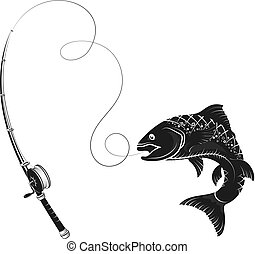 Fish on the hook and fishing rod