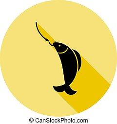 fish on the hook icon in long shadow style