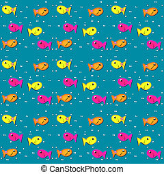 Fish on Turquoise - Tiny white dots or bubbles sit besides...