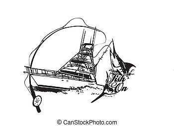 Offshore sport fishing boat with fish breaking water vector