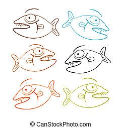 Fish Outline Illustration Set Isolated on White Background
