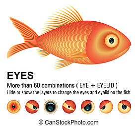 Vector Image. More than 60 combinations eyes. Hide or show the layers to change the eyes and eyelids on the fish. Add or remove details.