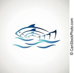 fish, på, hav, bakgrund, logo