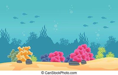 fish, paesaggio, silhouette, scogliera, mare