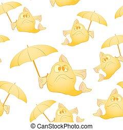 fish, parapluie, jaune