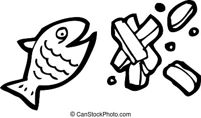 fish, patatine fritte, cartone animato