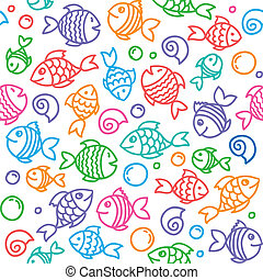 fish pattern - hand drawn seamless pattern with funny fishes