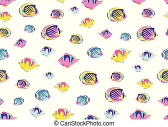 Fish pattern seamless vector illustration. Endless cartoon color sea ocean background for child print on white backdrop