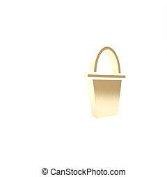 fish, pesca, icona, isolato, secchio, bucket., 3d, render, bianco, fondo., illustrazione, oro