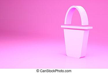 fish, pesca, minimalismo, bucket., isolato, fondo., rosa, secchio, render, illustrazione, concept., 3d, icona
