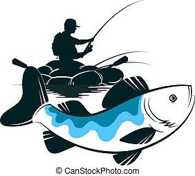 fish, pescatore, barca, presa